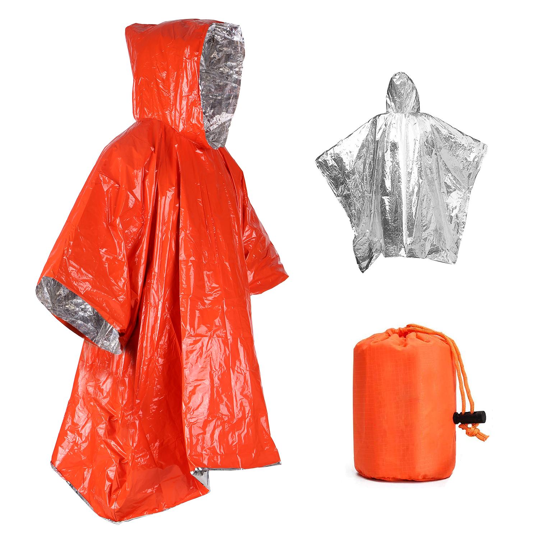 Orange Emergency Raincoat Aluminum Film Disposable Poncho Cold Insulation Rainwear Blankets Survival Tool Raincoat*1+ orange outer bag_124*101cm