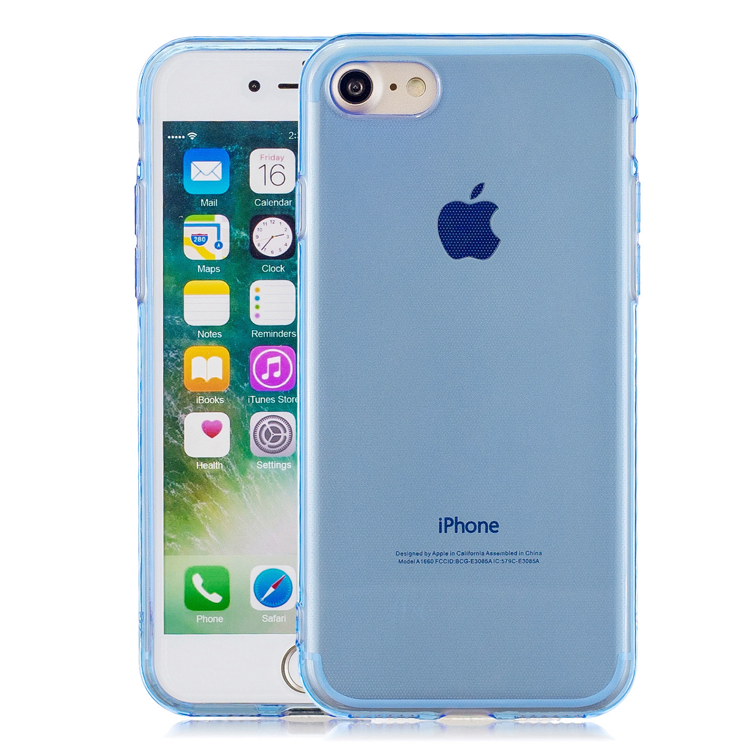 for iPhone 6/6S / 6 Plus/6S Plus / 7/8 / 7 Plus/8 Plus Clear Colorful TPU Back Cover Cellphone Case Shell Light blue