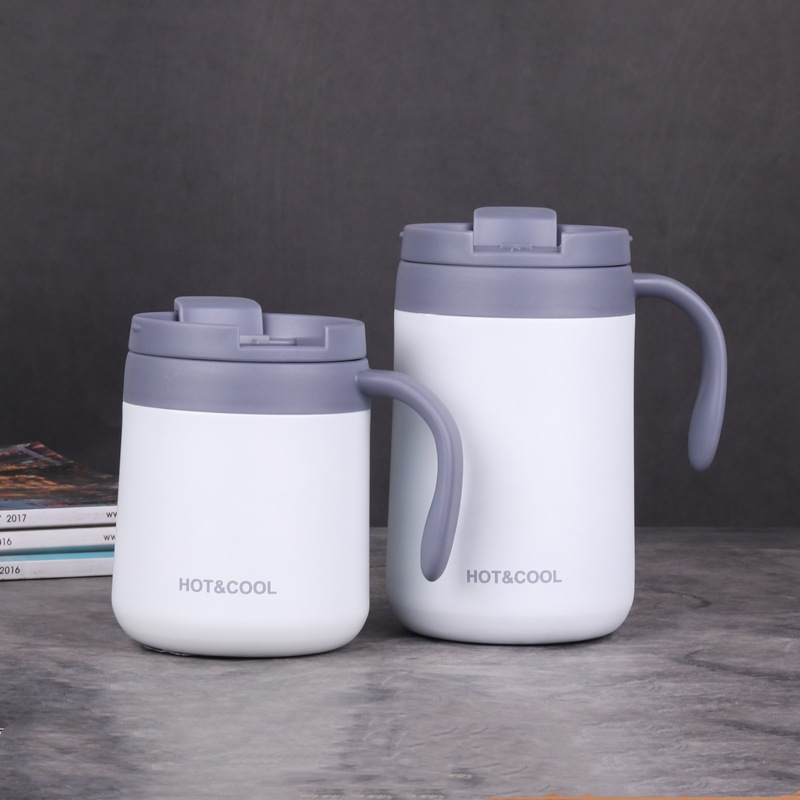 Vacuum Thermos  Cup  Stainless   Steel Double Layer Mini Tea Coffee  Cup With Lid Non-slip white