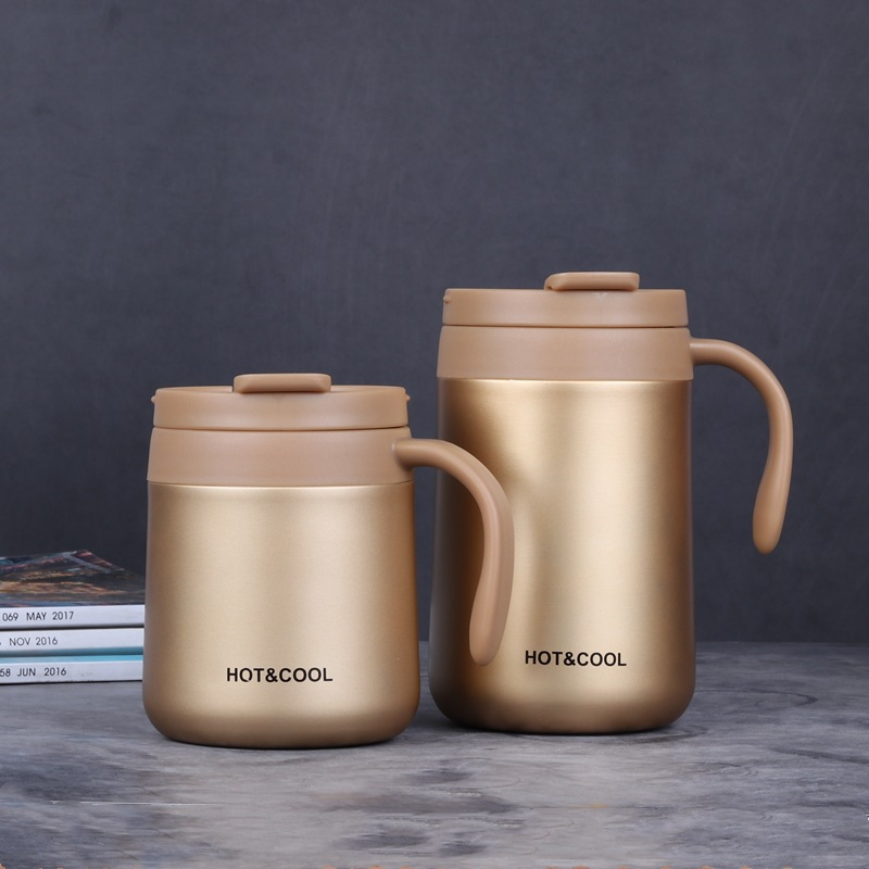 Vacuum Thermos  Cup  Stainless   Steel Double Layer Mini Tea Coffee  Cup With Lid Non-slip Golden