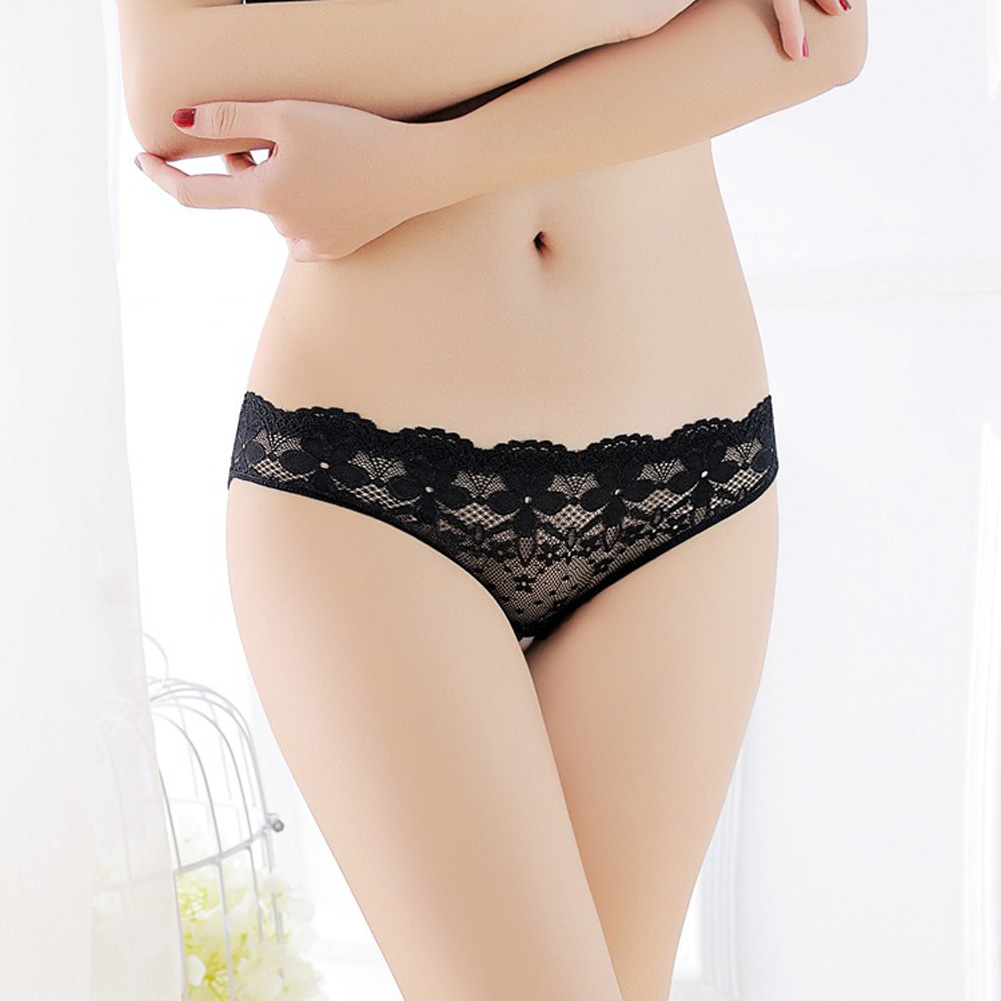 Women G-string Lace Floral Open Crotch Seamless Low Waist Sexy Underwear Erotic Briefs Panties black_One size