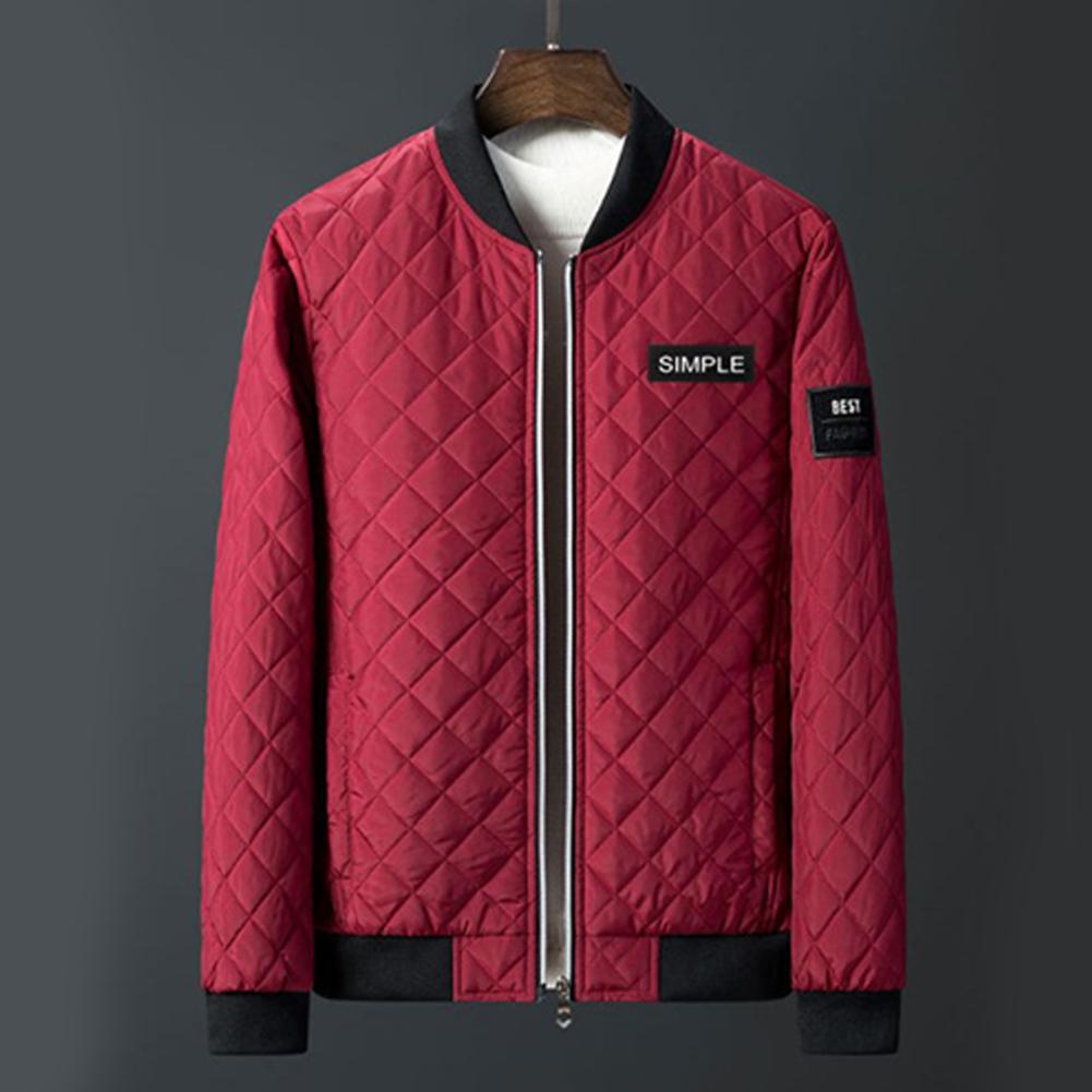 Men Winter Fashion Down Cotton Jacket Collar Jacket Cotton Coat Tops red_L