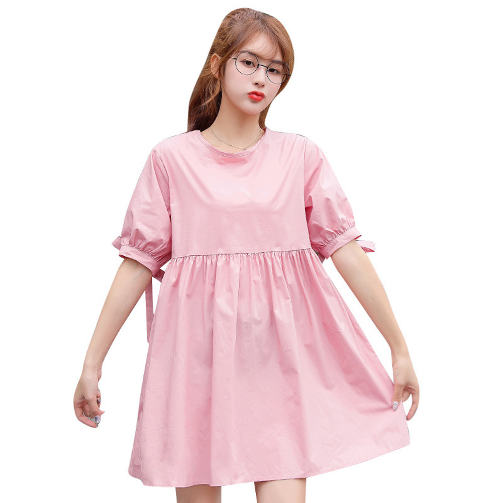 Maternity Dress Sweet Blouse Cotton Round Neck Loose Breathable Pregnant Woman Clothes Pink_XL