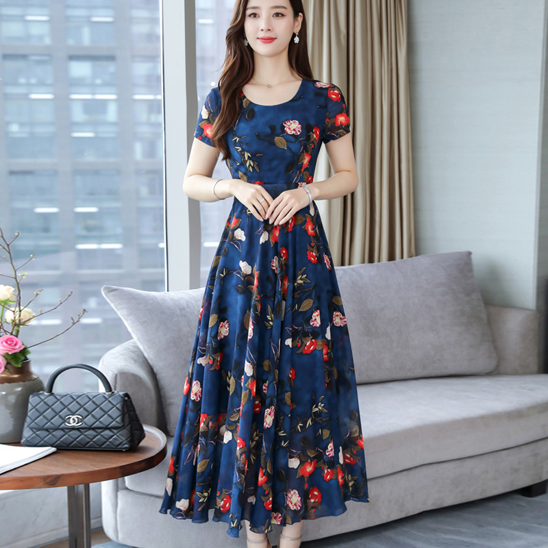 Women Summer Loose Round Collar Long Floral Pattern Short Sleeve Dress Navy_XL