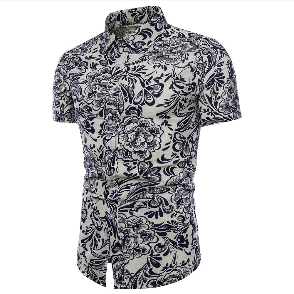 Men Summer Fashion Short Sleeve Large Size Printed Casual Shirt  TC08_M
