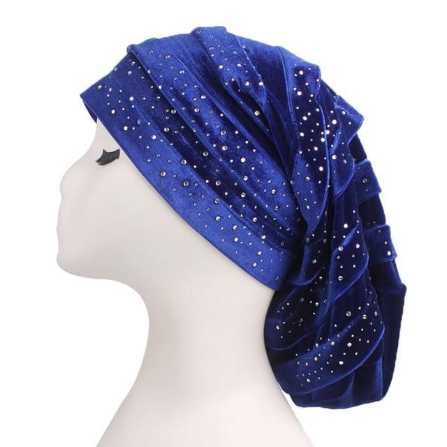 New Diamante Velvet Ruffle Turban Dreadlock Sleeping Cap Baggy Hat for Hair Loss Women Headwrap Slouch Caps Headwear Hijabs