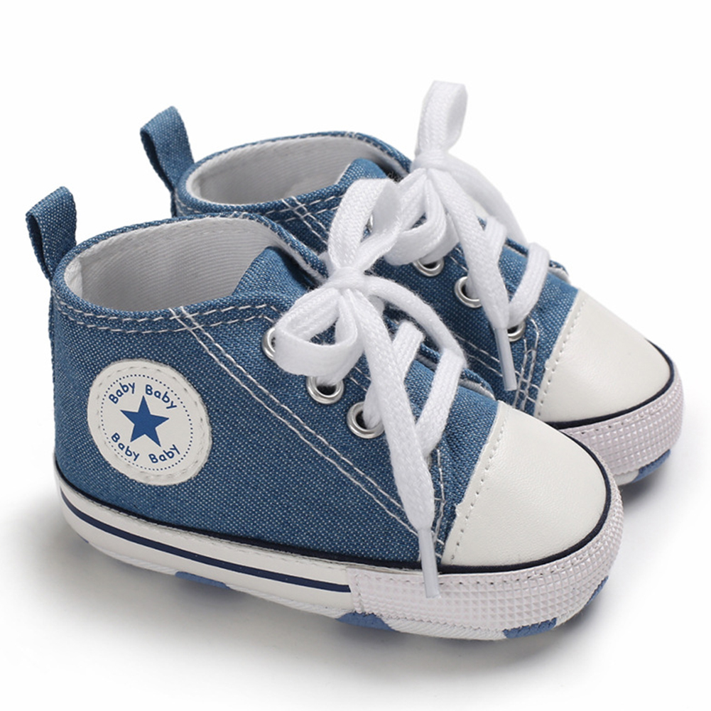 Baby Soft Soled Shoes Canvas Breathable Shoes Light blue_12CM bottom length