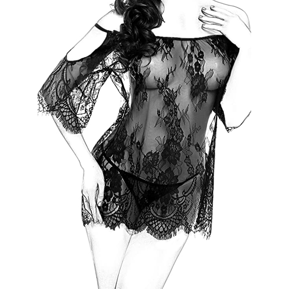 Women Chemises Lace Smock Lingerie Mini Babydoll Sexy Thong Lingerie black_L