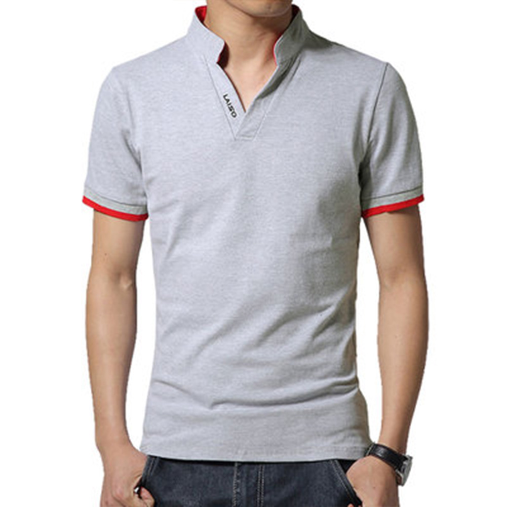 Men Casual Solid Color Cuff Stripe Pattern Standing Collar Shirt gray_2XL