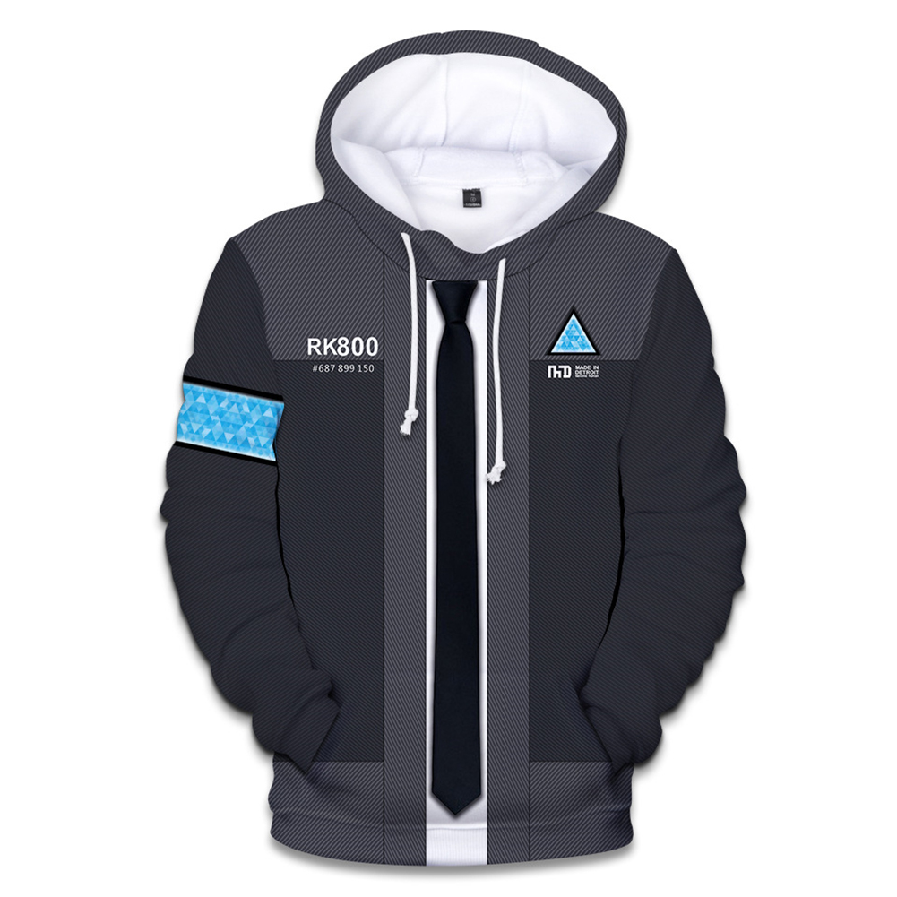 Men Fashion 3D Digital Print Hoodie Casual Hooded Loose Type Sweater Tops A#_XL