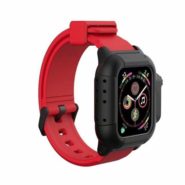 Waterproof Case for Apple Watch Band 4 iWatch Bands Silicone Strap 44mm 40mm Bracelet Smart Watch Accessories  red_40MM