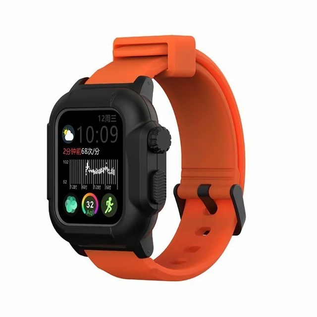 Waterproof Case for Apple Watch Band 4 iWatch Bands Silicone Strap 44mm 40mm Bracelet Smart Watch Accessories  Orange_40MM