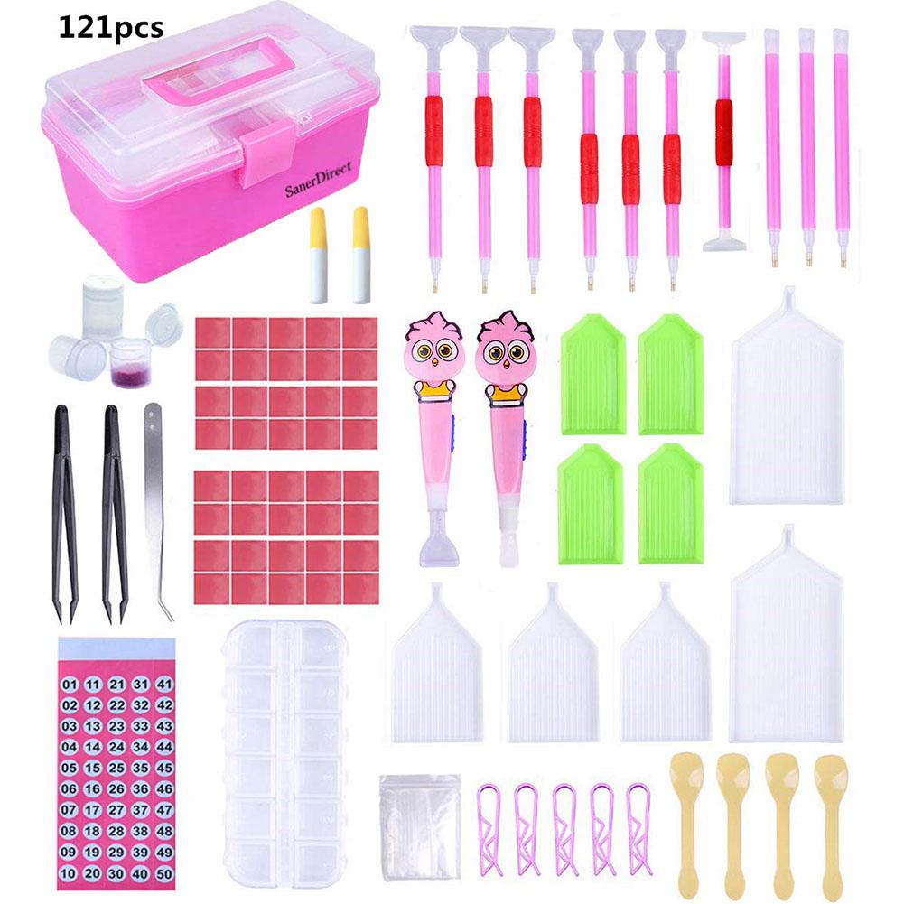 121Pcs Pens + Storage Box Tools Set for DIY 5D Diamond Embroidery Crafts 121pcs