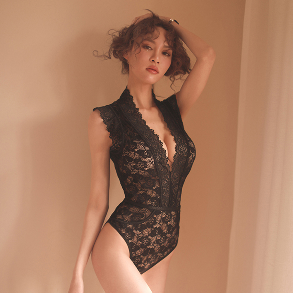 Lady Sexy Lace Floral Jumpsuit Deep V-Neck Temptation Lingerie Cosplay Underwear Bodysuits One size_black