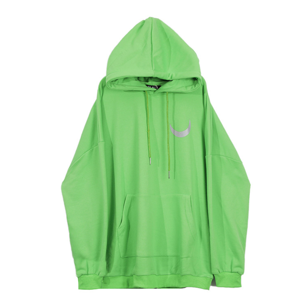 Man Fashion Autumn And Winter Warm Loose Hooded Sweater Printing Hoodie Tops green_L