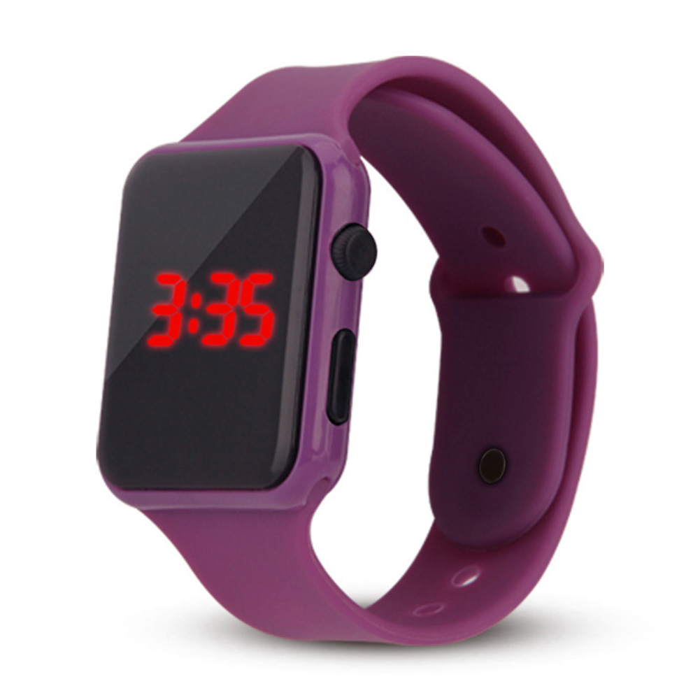 Electric LED Wristwatch Silicone Band Digital Display Watch Gifts for Boys and Girls purple