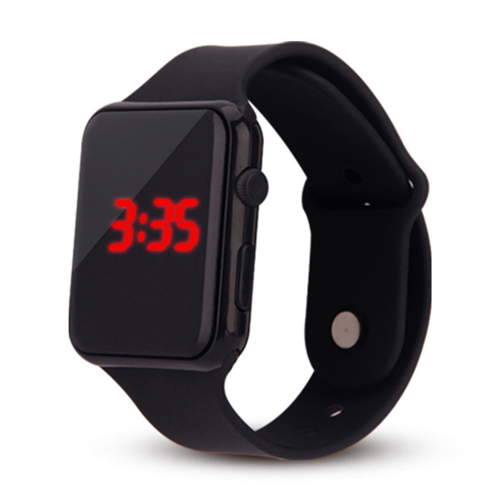 Electric LED Wristwatch Silicone Band Digital Display Watch Gifts for Boys and Girls black