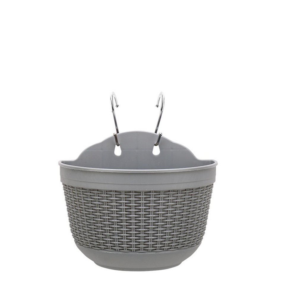 Wall Hanging Flower  Pot Garden Fence Balcony Basket Plant Potted Flower Pot Decoration Gray