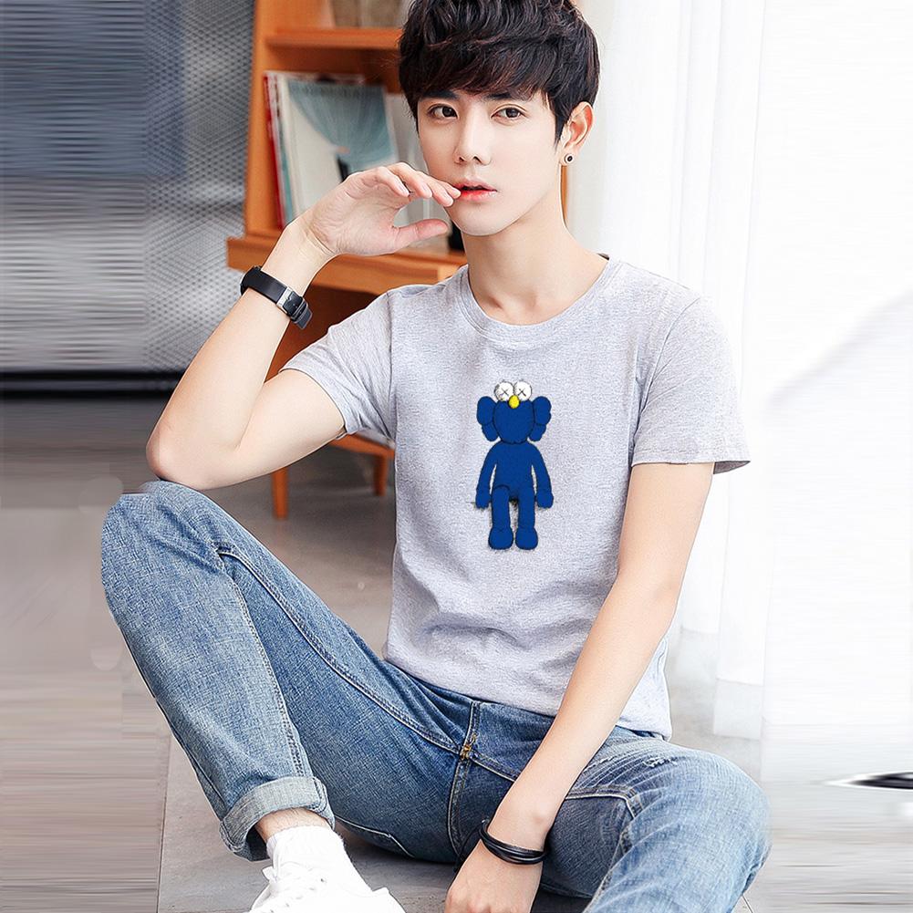 Boy Girl KAWS T-shirt Cartoon Sitting Doll Crew Neck Loose Couple Student Pullover Tops Gray_XXXL