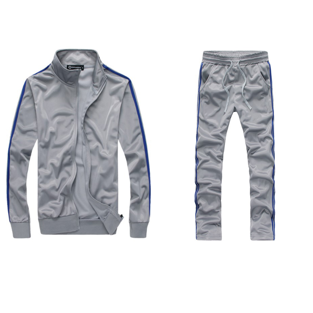 Men Autumn Sports Suit Striped Casual Sweater + Pants Two-piece Suit Outfit gray_L