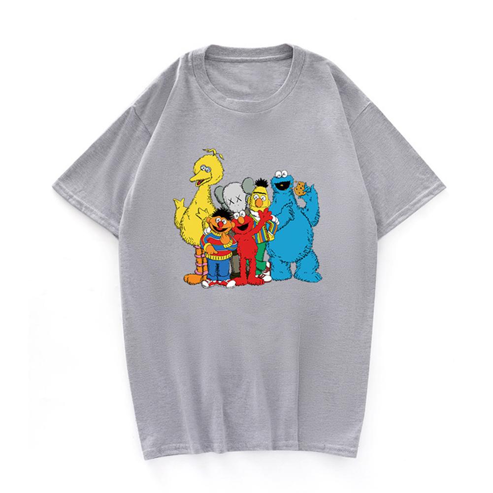 Boy Girl KAWS T-shirt Cartoon Animals Crew Neck Loose Couple Student Pullover Tops Gray_S