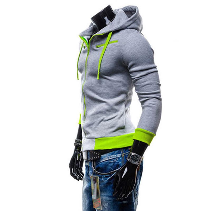 Men Fashion Matching Color Fleece Cardigan Hoodie Windproof Warm Drawstring Jacket light grey_M