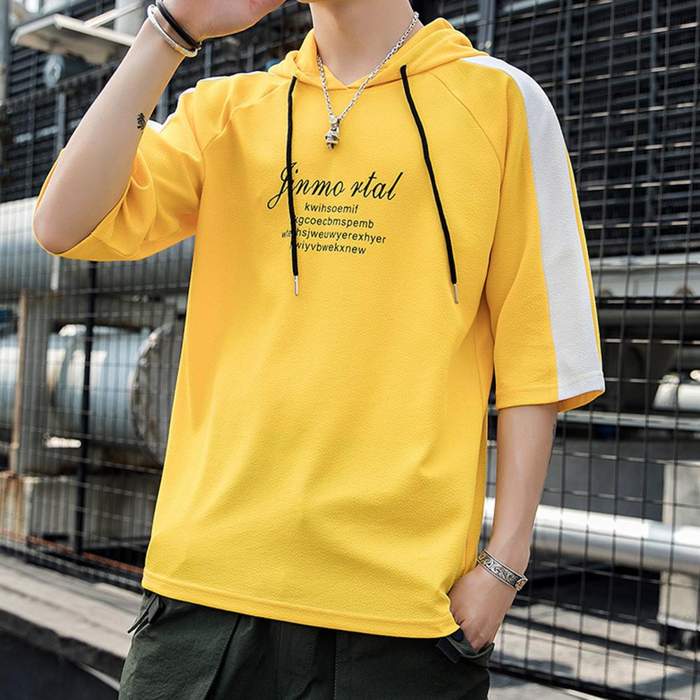 Men Casual Loose Hoodies Half Sleeves Hooded Pullover Shirt