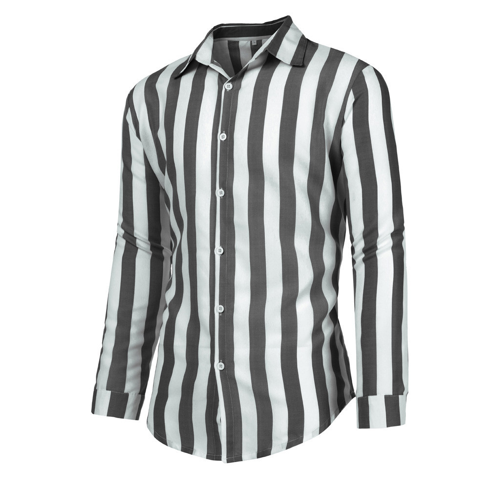 Men Fashion Long Sleeve Stripes Printing Casual Shirt gray_XXL