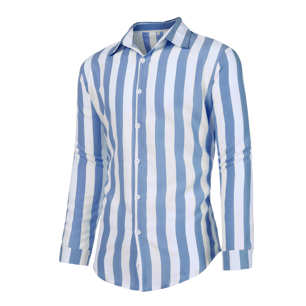 Men Fashion Long Sleeve Stripes Printing Casual Shirt blue_XXXL