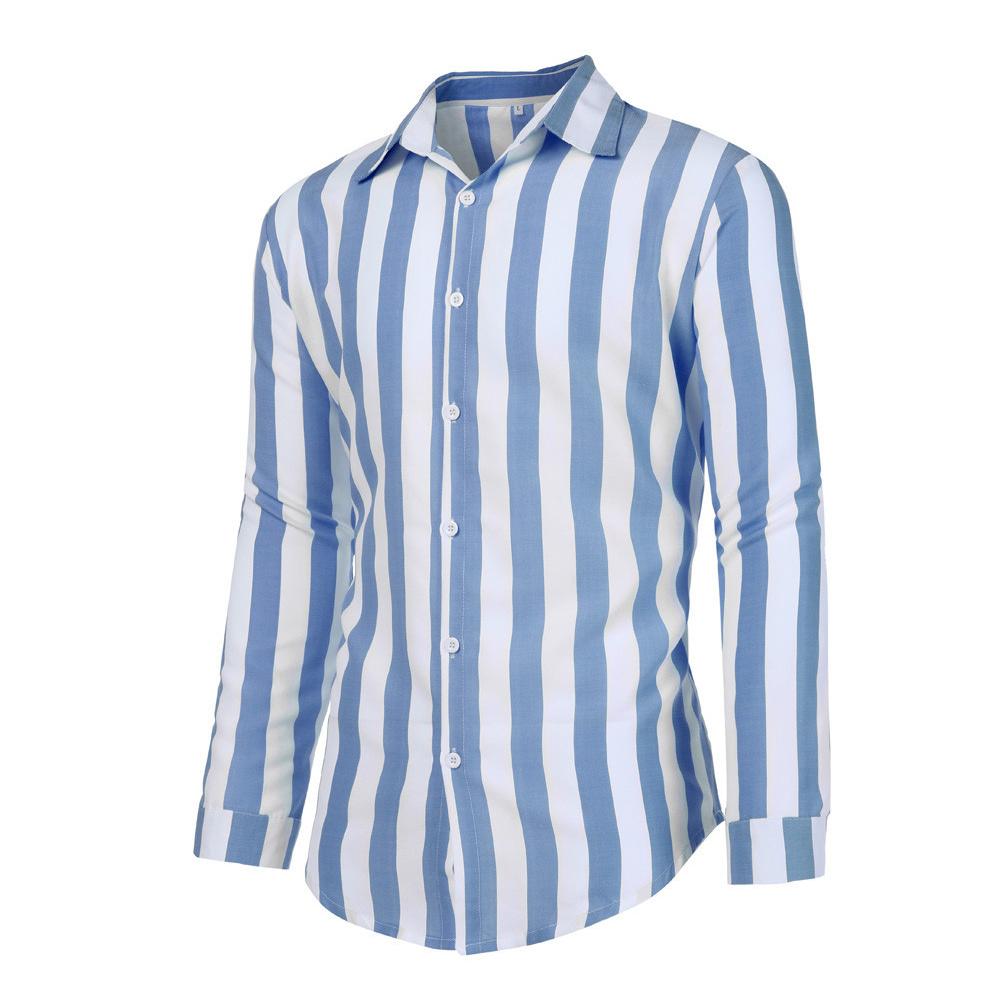 Men Fashion Long Sleeve Stripes Printing Casual Shirt blue_XXL