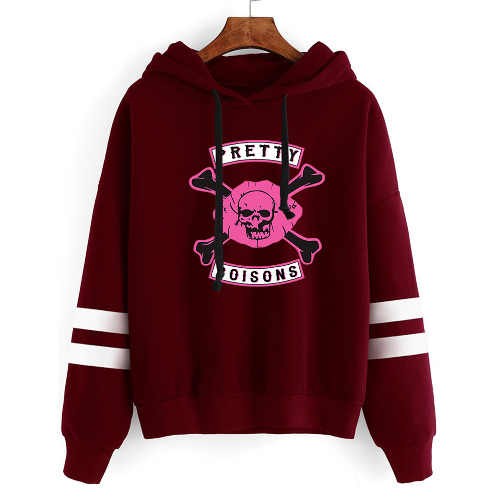 Men Women American Drama Riverdale Fleece Lined Thickening Hooded Sweater Tops Red wine_L