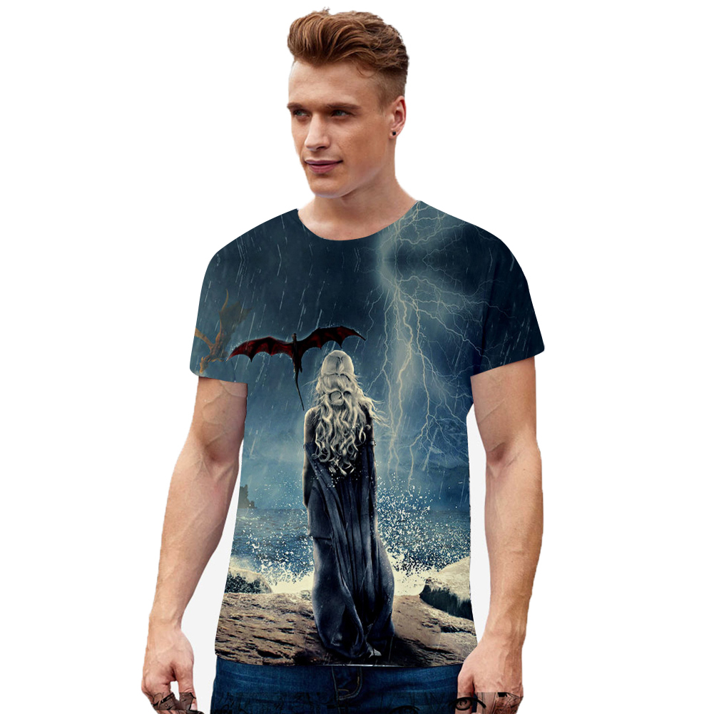 Summer Fashion Short Sleeve Game of Thrones 3D Digital Printing T-shirt for Men Women F style_M