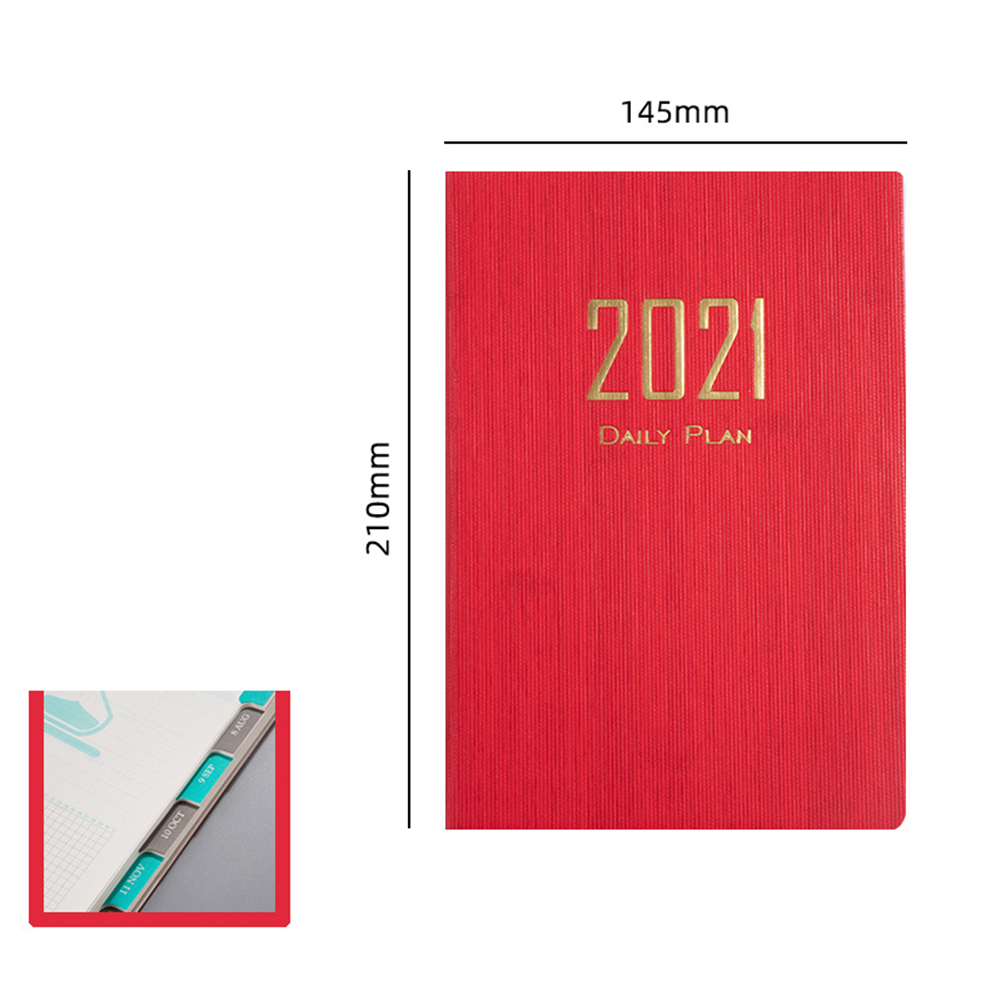 A5 Time Management Schedule Book 2021 Solid Color Calendar Coil Planner Timetable a5