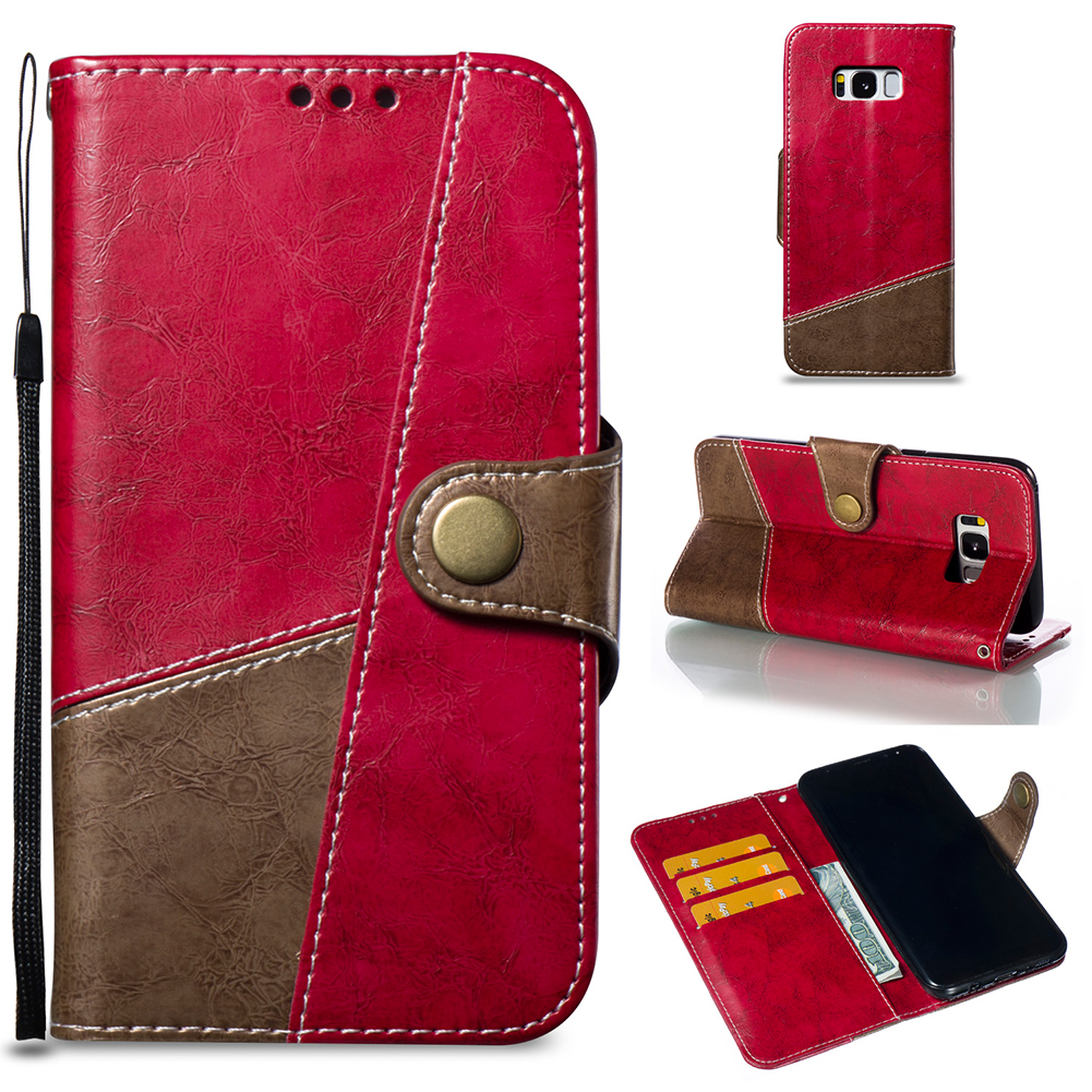 For Samsung S8PLUS/G955 Hit Color Stitching Leather Protective Phone Case with Button & Card Position & Bracket red