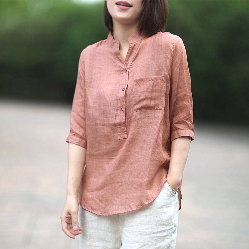 Women Summer Casual Cotton and Linen Stand Collar Shirt  Loose Mid-length Sleeve Shirt Pale pink_XL