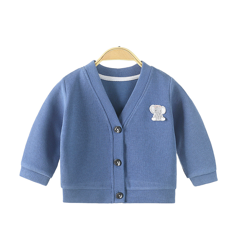 Children's Sweater Cardigan Cartoon Pattern Jacket for  0-3 Years Old Kids Navy blue_73cm