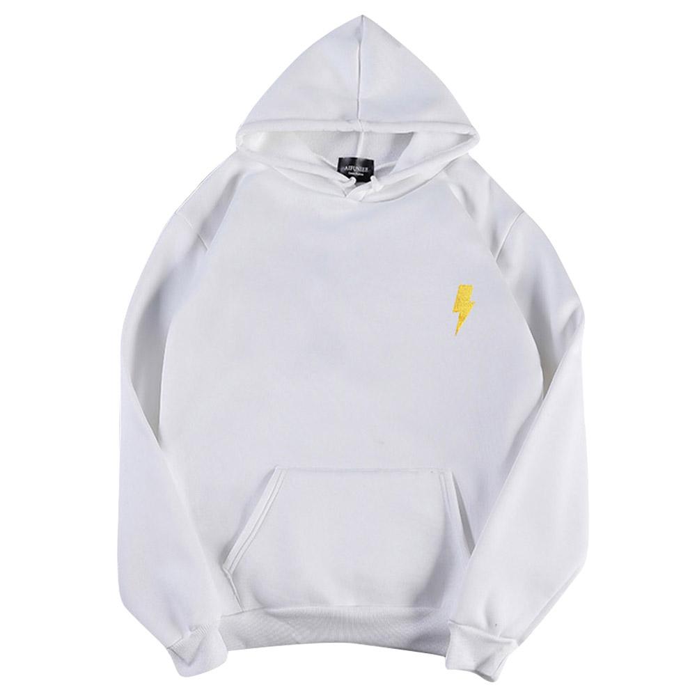 Men Women Hoodie Sweatshirt Thicken Velvet Flash Loose Autumn Winter Pullover Tops White_XXXL