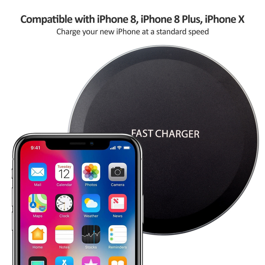 Ultra Thin Desktop QI Wireless Charger Mini Charging Pad for iPhone XS MAX XR X 8 Plus Samsung Note 9 S9 S8 Xiaomi black 5w