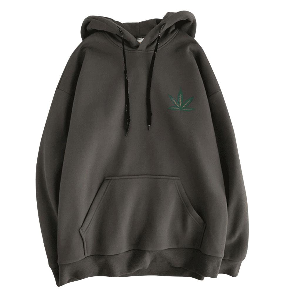 Men Women Hoodie Sweatshirt Maple Printing Simple Fashion Loose Pullover Tops Dark gray_L