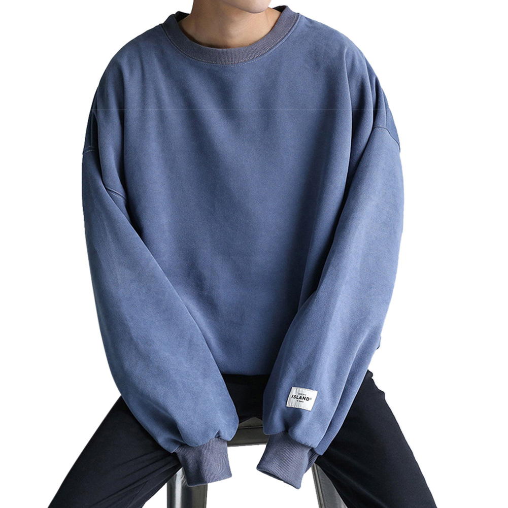 Women Men Round-Necked Loose Long-Sleeved Oversize Casual Sweatshirts for Campus  blue_L
