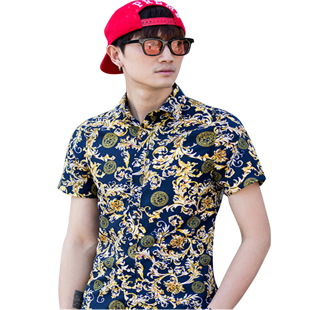 Men Summer Short Sleeve Vivid Color Printed Casual Shirt  DC08_XXXL