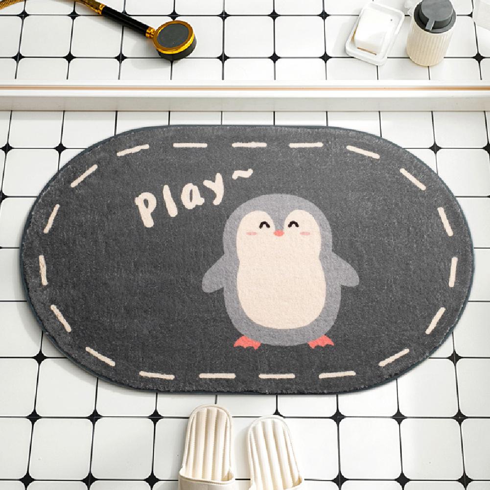 Cartoon Floor Mats Absorbent Quick Dry Foot Mat Rug for Bathroom Bedroom 40*60cm penguin
