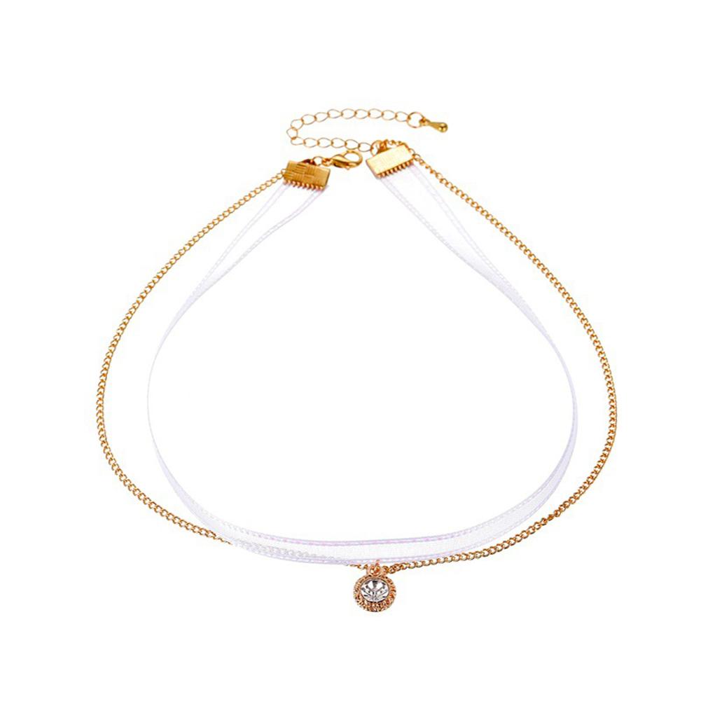 Women's Necklace Short Double-layer Mesh Golden Clavicle Chain Golden