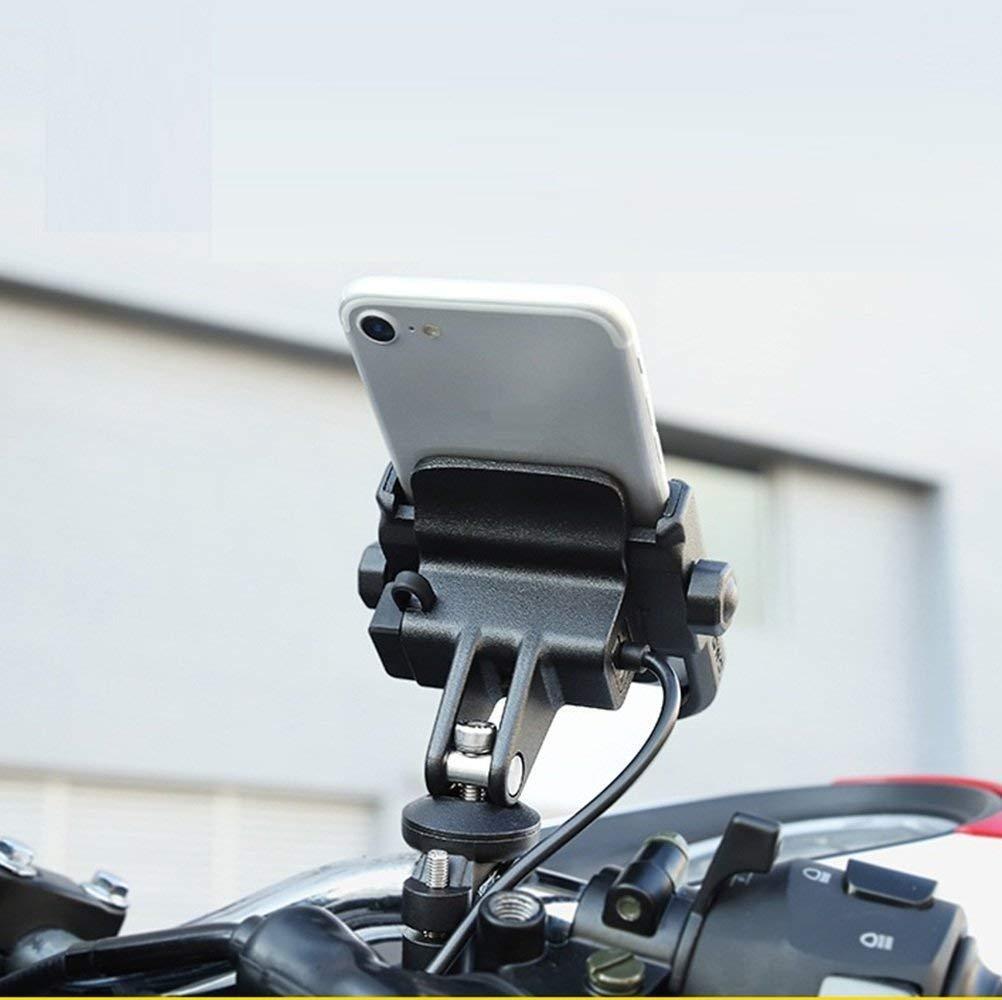 Bike Motorcycle Phone Holder Phone Mount with 12-24V USB Charging Metal Aluminum Handlebar Holder 360° Adjustable black_Handlebar