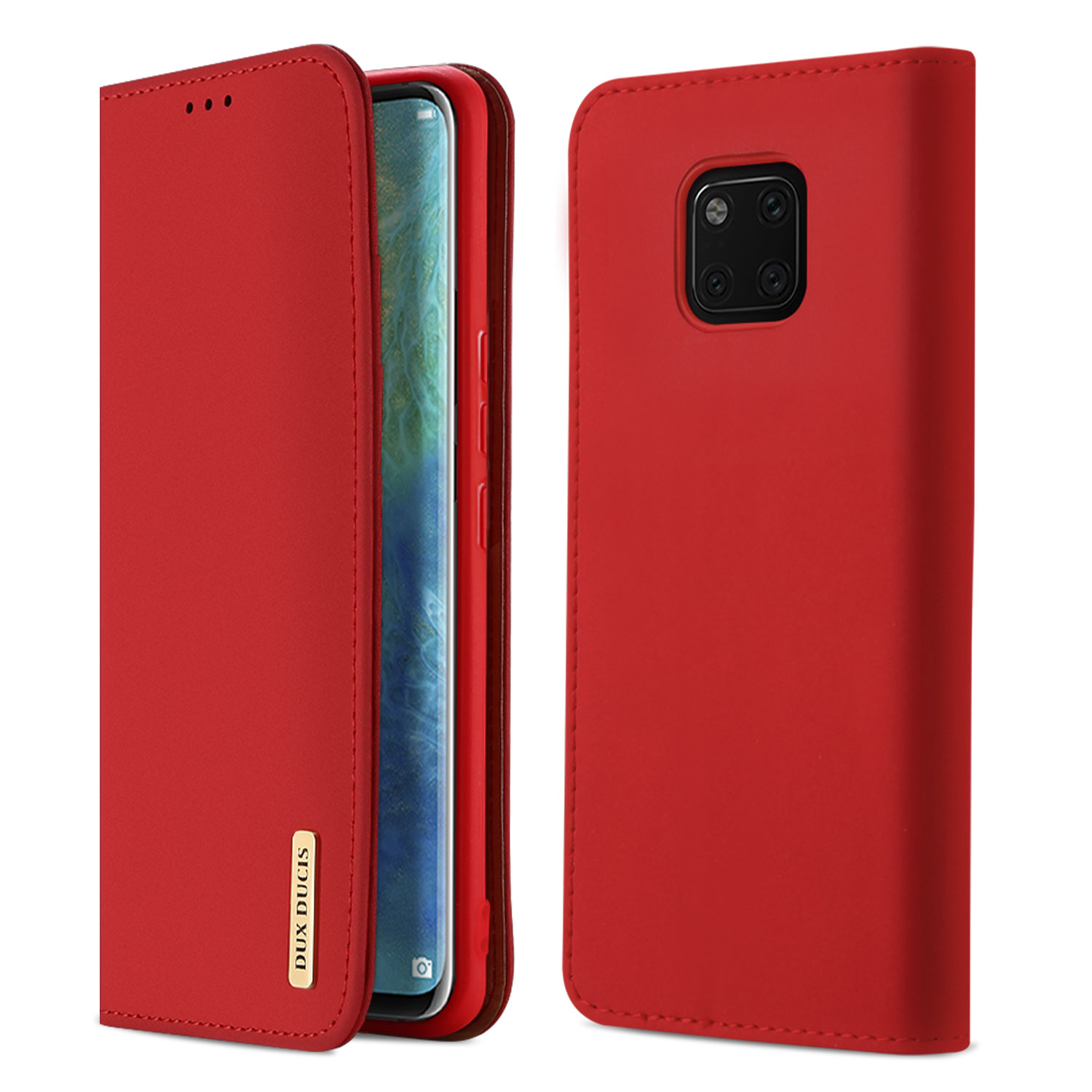 DUX DUCIS For Huawei MATE 20 pro Luxury Genuine Leather Magnetic Flip Cover Full Protective Case with Bracket Card Slot red_Huawei MATE 20 pro