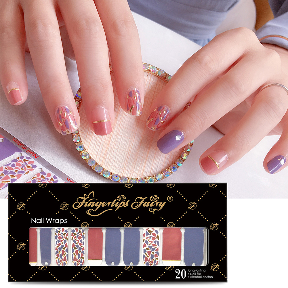 Full Wraps Shinning Nail Stickers Decals DIY Nail Art Stickers for 20 Fingers Normal specifications_#005