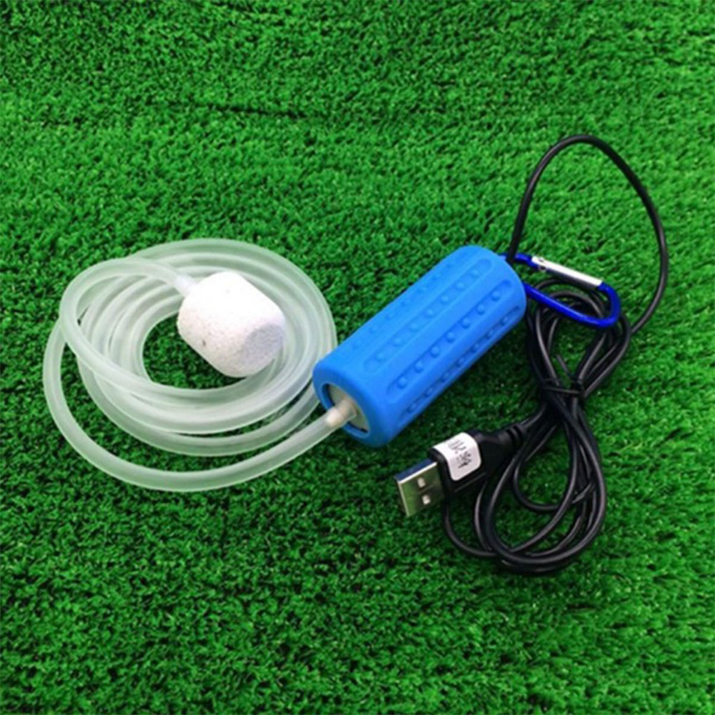 Portable Mini USB Aquarium Fish Tank Oxygen Air Pump Mute Energy Saving Supplies Accessories blue