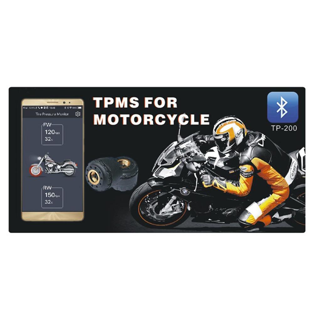 Wireless Motorcycle Bluetooth Tire Pressure Monitoring System External Sensors black