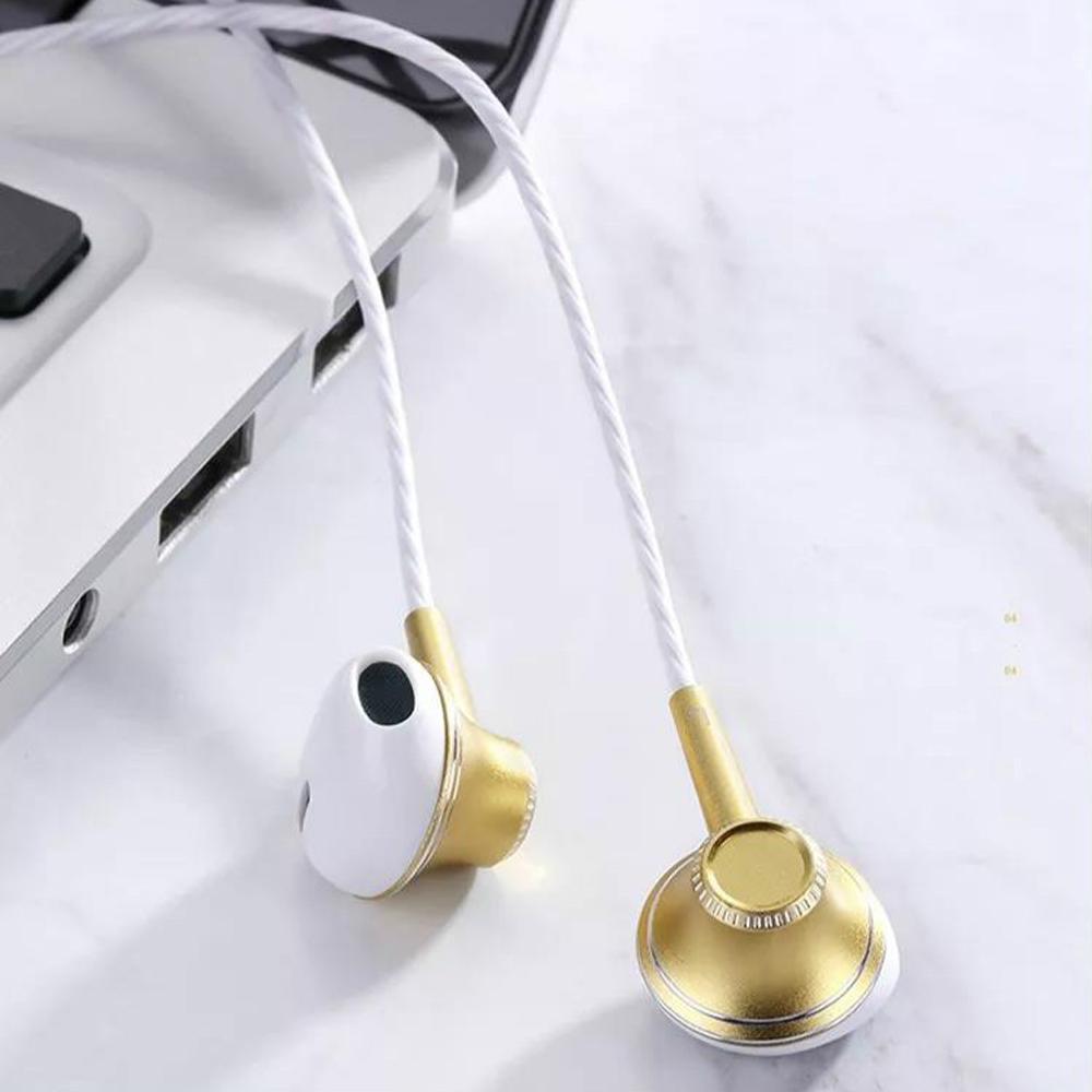 Joyroom E208 Mobile Stereo Handsfree Headphones Metal Earphone Earbuds Gold_E208
