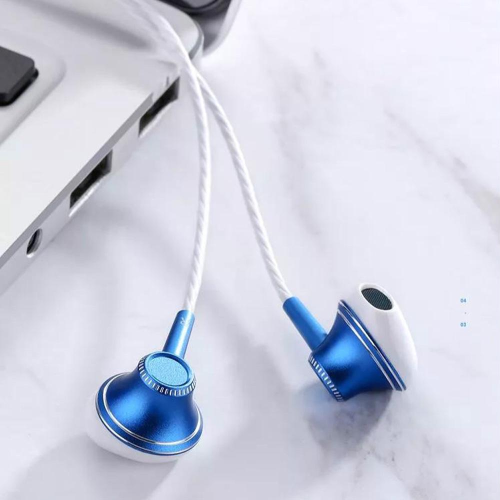 Joyroom E208 Mobile Stereo Handsfree Headphones Metal Earphone Earbuds blue_E208